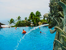 巴厘岛,印度尼西亚- 2008年12月30日:游泳池看法在丽思卡尔顿手段的 库存图片