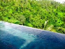 巴厘岛,印度尼西亚- 2014年4月13日:游泳池看法在Ubud斜坡上的花园旅馆 库存照片