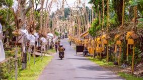 巴厘岛Penjors,沿村庄街道的装饰的竹杆在伴奏者,印度尼西亚 免版税图库摄影