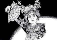 巴厘语舞女 向量例证