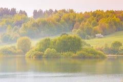 厚实的秋天森林近的起波纹的湖平静的风景  免版税库存照片