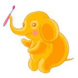 厚实的逗人喜爱的橙色大象拿着在树干的刷子 技艺家 皇族释放例证