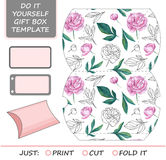 厚待,冲切的礼物盒 配件箱空的花卉标签模式模板 免版税库存图片