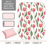 厚待,冲切的礼物盒 配件箱空的花卉标签模式模板 免版税库存照片