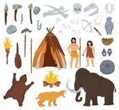 原始人民导航在石器时期洞例证史前人的声势浩大和古老穴居人字符有扔石头的 库存例证