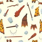 原始人stoneage原史原始历史的狩猎stoneage穴居人人武器和房子生活标志 皇族释放例证