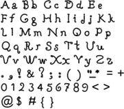 原始字体,在一个空白背景的字母表 图库摄影