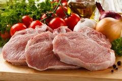 原始新鲜的猪肉 免版税库存图片