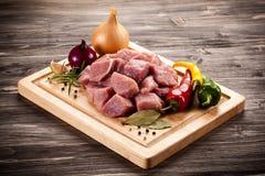 原始新鲜的猪肉 库存图片