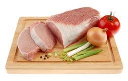 原始新鲜的腰部的猪肉 免版税库存照片