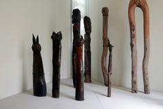 原始木雕刻 库存图片