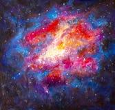 原始的丙烯酸酯的空间,在帆布-五颜六色的满天星斗的天空,星系,无限,蓝色,紫色手工制造绘画的宇宙绘画 皇族释放例证