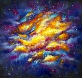 原始的丙烯酸酯的空间,在帆布-五颜六色的满天星斗的天空,星系,无限,蓝色,紫色手工制造绘画的宇宙绘画 免版税图库摄影