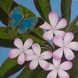 原始的丙烯酸酯的绘画-蝴蝶&赤素馨花 免版税库存图片