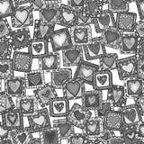 原始的乱画心脏的无缝的样式。 免版税库存图片