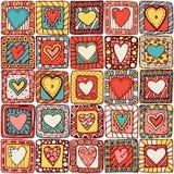 原始的乱画心脏的无缝的样式。 免版税库存照片