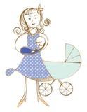 原始的例证,女婴 免版税库存照片