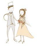 原始的例证,婚姻的夫妇 免版税库存图片