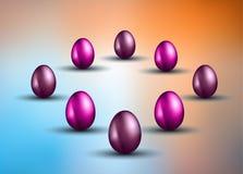 原始的复活节设计模板用与阴影的光滑的3D鸡蛋 库存照片