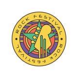 原始的岩石节日商标模板 音乐费斯特与圈子的摘要线艺术,星和电吉他朝向 向量 图库摄影