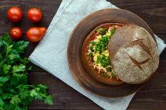 原始的开胃菜-被充塞的黑麦面包,被烘烤 库存图片