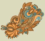 原始的手凹道线艺术华丽花设计 免版税库存照片
