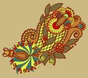 原始的手凹道线艺术华丽花设计 免版税库存图片