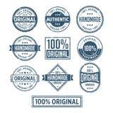 100%原始的手工制造地道标签徽章传染媒介 库存例证