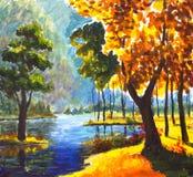 原始的手画油画晴朗的大秋天橙树,在帆布-五颜六色的树,蓝色山河的绿色杉树 免版税库存图片
