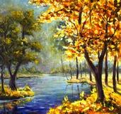 原始的手画油画晴朗的大秋天橙树,在帆布-五颜六色的树,蓝色山河的绿色杉树 免版税图库摄影