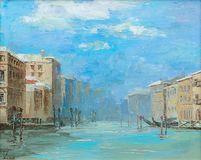 原始的油画,威尼斯运河在一个晴天 库存照片
