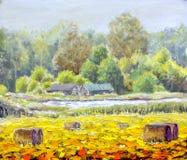 原始的油画生活在帆布的乡下 美好的农村风景,村庄,两个房子,领域-现代艺术 免版税库存照片