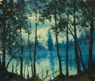 原始的油画美丽的夜海 不可思议的木头 印象主义 库存照片