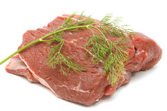 原始的牛肉部分在白色的 免版税库存照片