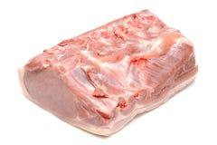 原始的猪肉部分在白色的 免版税库存照片