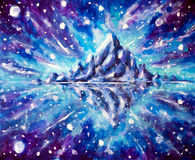 原始的空间风景背景-间隔满天星斗的天空和山反射,星丙烯酸酯在帆布 创造性爱好Painti 库存图片