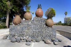 原始的纪念碑在市桑塔纳,马德拉岛 免版税图库摄影