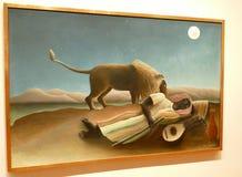 原始的绘画的照片亨利卢梭:`睡觉吉普赛` 库存照片