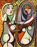 原始的绘画的照片巴勃罗・毕卡索:在镜子`前的`女孩 图库摄影