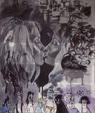 原始的绘画,亲吻在与各种各样的字符的灰色环境,水彩中的女孩的画象 库存例证