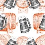 原始的葡萄酒减速火箭的啤酒房子的,酒吧,客栈,酿造的公司,啤酒厂,小酒馆线艺术无缝的传染媒介样式 免版税图库摄影