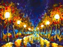 原始的表现主义油画晚上公园都市风景,在湿沥青的美好的反射在帆布 抽象紫罗兰色橙色 库存图片