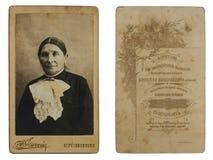 原始的19世纪80年代仿古一名资深妇女的照片 库存图片