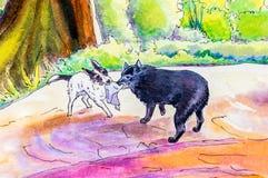 原始的绘画两条狗使用 库存例证