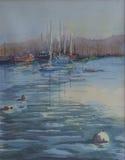 原始的水彩绘画-被停泊的游艇 库存照片