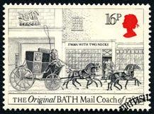 原始的巴恩邮件马车英国邮票 库存图片