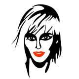 原始秀丽更好的转换女孩的质量 时尚美丽的妇女面孔 墨水 库存照片