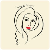 原始秀丽更好的转换女孩的质量 时尚美丽的妇女面孔 墨水 免版税库存图片