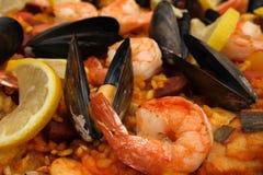 原始肉菜饭西班牙语 库存图片
