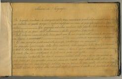 原始葡萄酒笔记本页 免版税库存图片